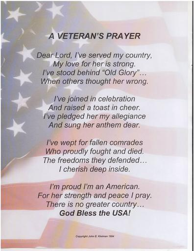 A Veteran's Prayer by John E. Kleiman
